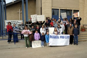 Fr. Jeffrey and Walk For Life Melfort 2008 participants