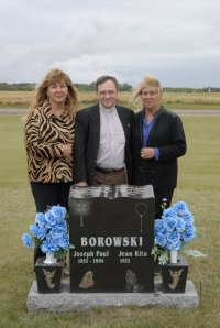 At The Grave of Joe Borowski with two of his daughters